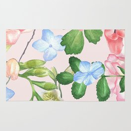 Watercolor Floral Collage in Blush Rug