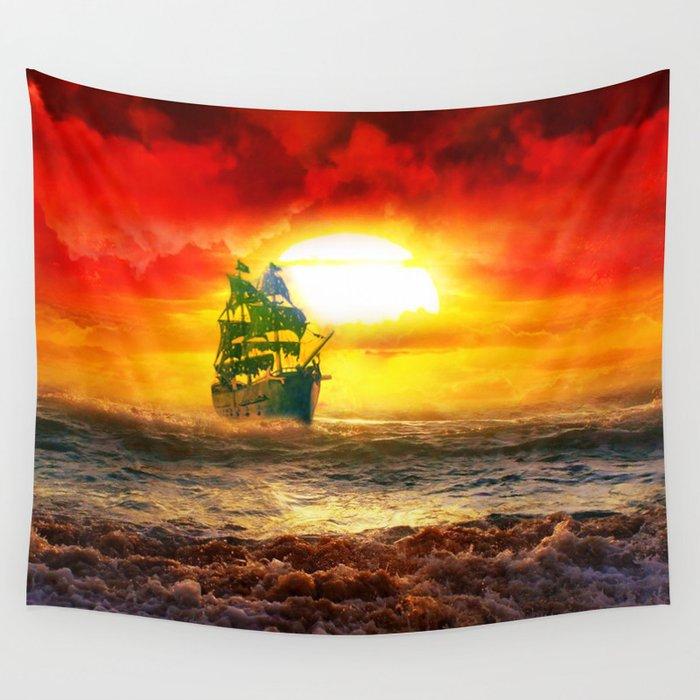 Black Pearl Pirate Ship Wall Tapestry by elliedahlena | Society6