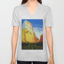 Zion National Park - Vintage Travel Unisex V-Neck