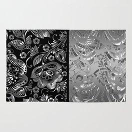 Metallic Silver Vintage Damasks Pattern Rug