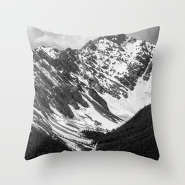 Black and White Canadian Rockies Throw Pillow