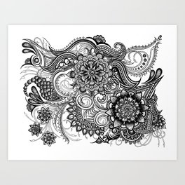 Freeform Black and White Ink Drawing Art Print