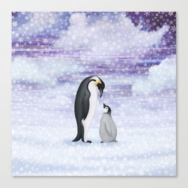 emperor penguins in the snow Canvas Print