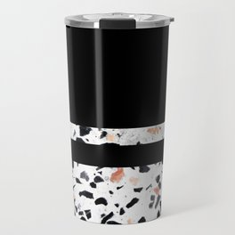 Terrazzo Stone Pattern Black and Orange Peach Travel Mug