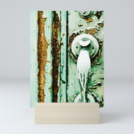 Green Door Handle, Peeling Turquoise Paint, Rusty Door Mini Art Print