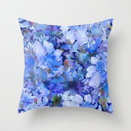 Wild Blue Rose Garden Throw Pillow