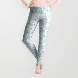 Shade of blue floral pattern Leggings
