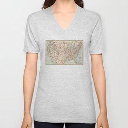 Vintage Map of The United States (1893) Unisex V-Neck