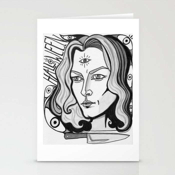 Horror Movie Halloween Final Girl Laurie Strode Stationery Cards