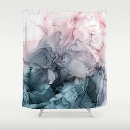 Blush and Payne's Grey Flowing Abstract Painting Duschvorhang