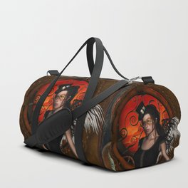 Wonderful steampunk lady with wings and hat Duffle Bag