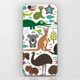 Animals Australia: Echidna Platypus ostrich Emu Tasmanian devil Cockatoo parrot Wombat snake turtle iPhone Skin