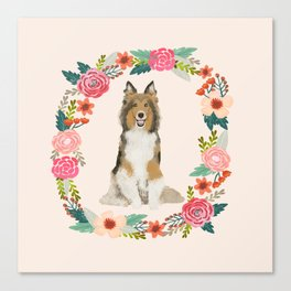 Sheltie floral wreath dog breed shetland sheepdog pet portrait Canvas Print