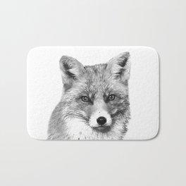 Black and White Fox Bath Mat