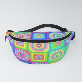 Multicoloured Patchwork Flowers Hippy Style Fanny Pack