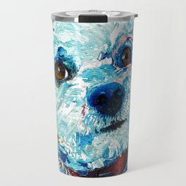Small Cute Dog Art - Who Me? - Sharon Cummings Travel Mug