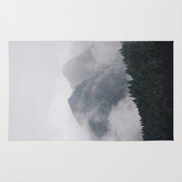 Minimalist Modern Photography Landscape Pine Forest Jagged High Grey Mountains Rug