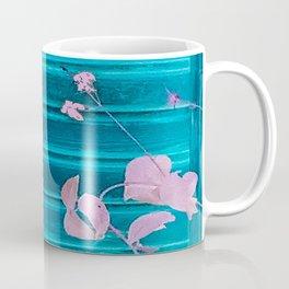 blue wooden wall pink jasmine minimal Coffee Mug
