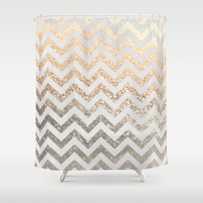 multi color chevron shower curtain. GOLD  SILVER CHEVRON Shower Curtain by monikastrigel Society6