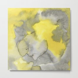 Hand painted gray yellow abstract watercolor pattern Metal Print