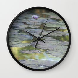 Water Lilies Afloat Wall Clock