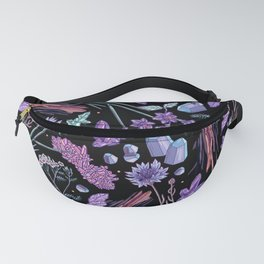 Purple flowers and jewels. Fanny Pack
