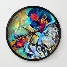 Jazz State of Mind - Colorful Impressionism Miles D. Davis Louis Armstrong Trumpeters Wall Clock