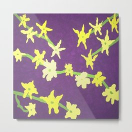 Yellow Flowers On Purple Metal Print