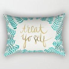 Treat Yo Self – Gold & Turquoise Rectangular Pillow