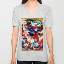 Abstract Action American Painting Unisex V-Neck