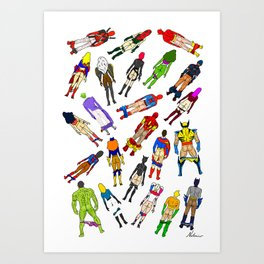 Superhero Butts with Villians - Light Pattern Art Print