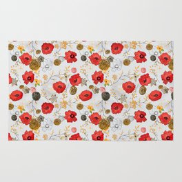 Jacque print smaller floral on gray Rug