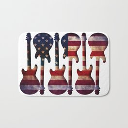 American Flag Guitar Art Bath Mat
