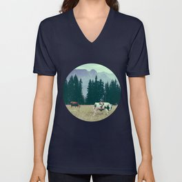 Cows and Mountains Unisex V-Neck