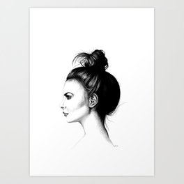 Untitled 8 Willa Holland High Messy Bun Hair Minimalist Modern Fine Art Illustration Scandinavian Art Print