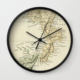 Vintage Retro Map Southern Italy Wall Clock
