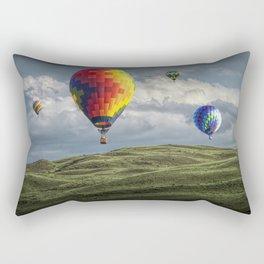 Hot Air Balloons over Green Fields Rectangular Pillow