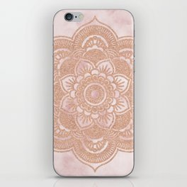 Rose gold mandala - pink marble iPhone Skin