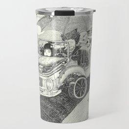Doot car with women, character, and umbrella, driving Travel Mug