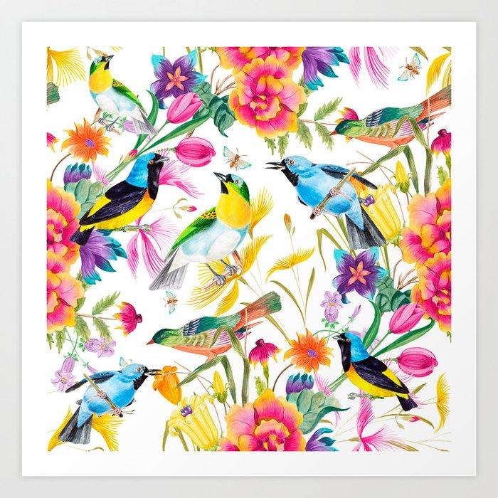 Birds Colourful Floral Motif Pattern Tropical decor Spring Flowers ...