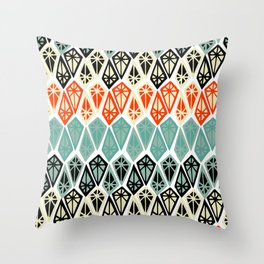 Abstract geometric hand painted red black teal diamond shapes Throw Pillow