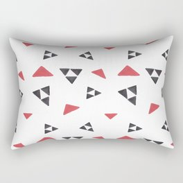 Hand painted watercolor black red geometrical triangles Rectangular Pillow