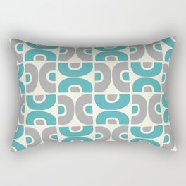 Funky Mid Century Modern Pattern 554 Gray and Turquoise Rectangular Pillow