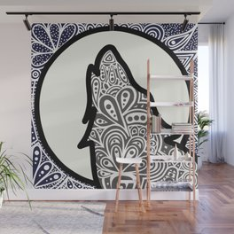 Zentangle Wolf Howling at the Moon - LaurensColour Wall Mural