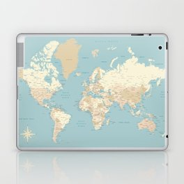 """Cream, brown and muted teal world map, """"Jett"""" Laptop & iPad Skin"""