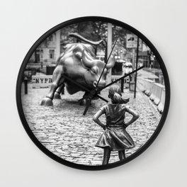 Fearless Girl & Charging Bull in the rain Wall Clock