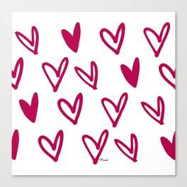 Lovely hearts - fuchsia heart pattern Canvas Print