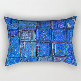 V2 Calm Blue Traditional Moroccan Cloth Texture. Rectangular Pillow
