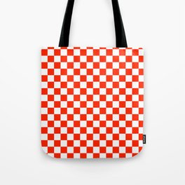 White and Scarlet Red Checkerboard Tote Bag