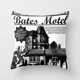 Bates Motel Advertisement - Black Type Throw Pillow